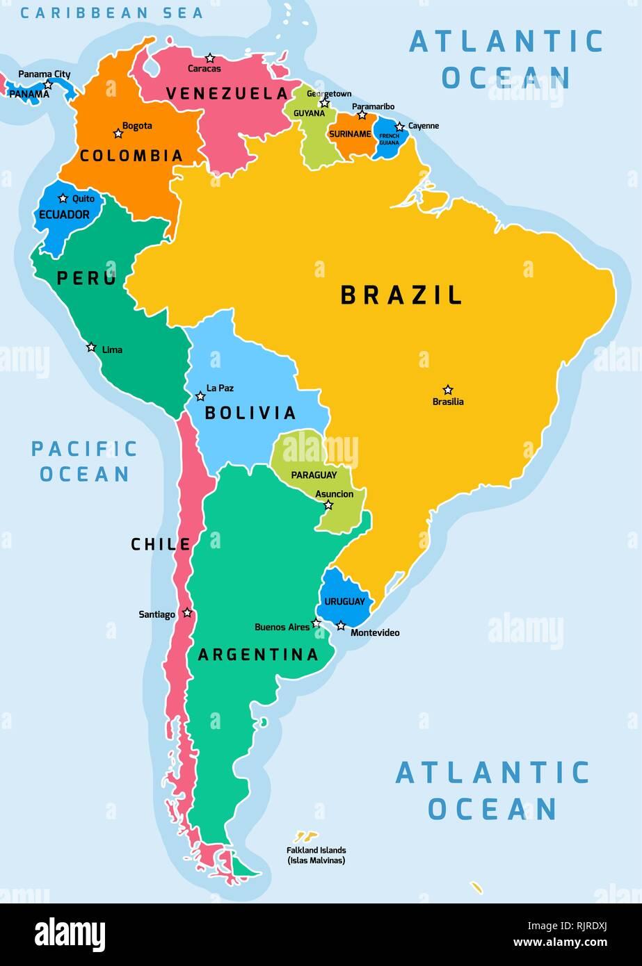 Mapa Político De Sudamérica.America Del Sur La Division Politica Mapa Ilustracion