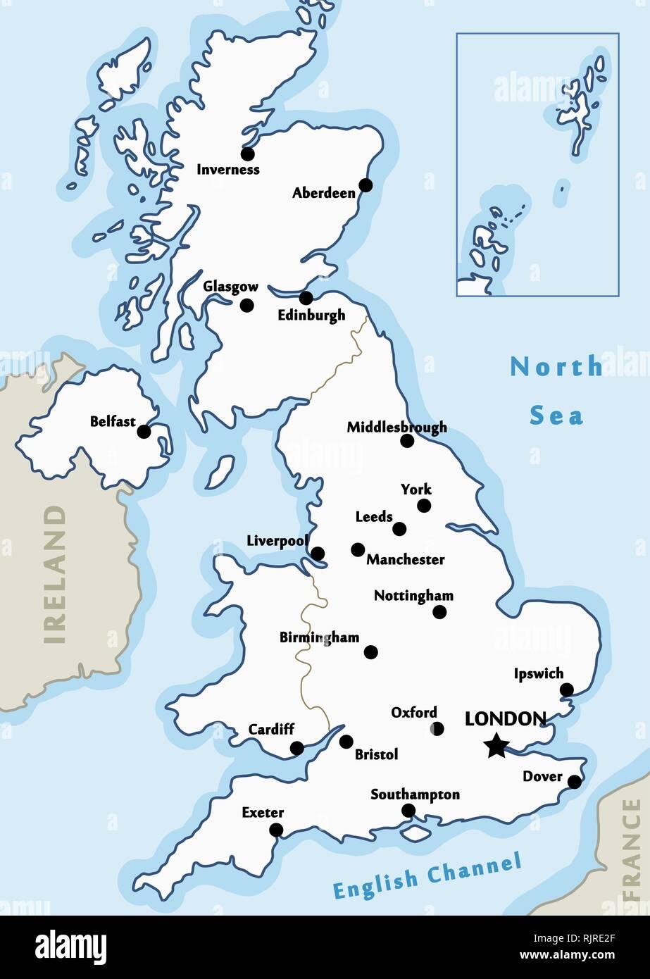 Mapa Del Reino Unido Vector Ciudades Importantes Marcados En El
