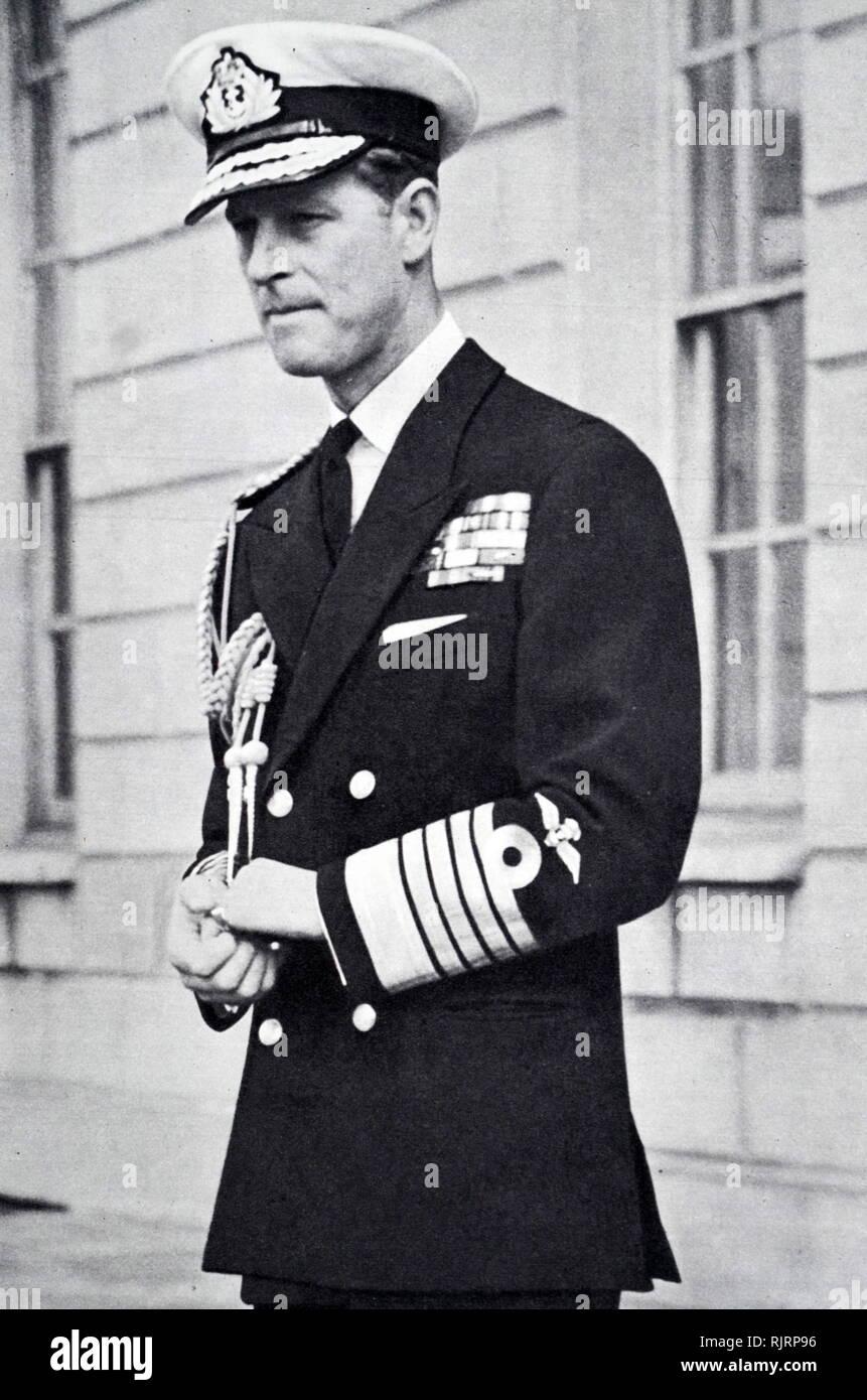 El Duque de Edimburgo, inauguró una exposición de yates real en el National Maritime Museum, Greenwich, en 1953 Imagen De Stock