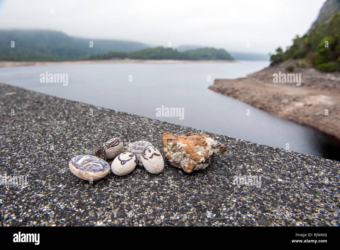 Pet piedras en el borde del lago de Mackintosh, un depósito que forman parte del plan de Hydro Electric Pieman cerca Tullah en Tasmania. Foto de stock