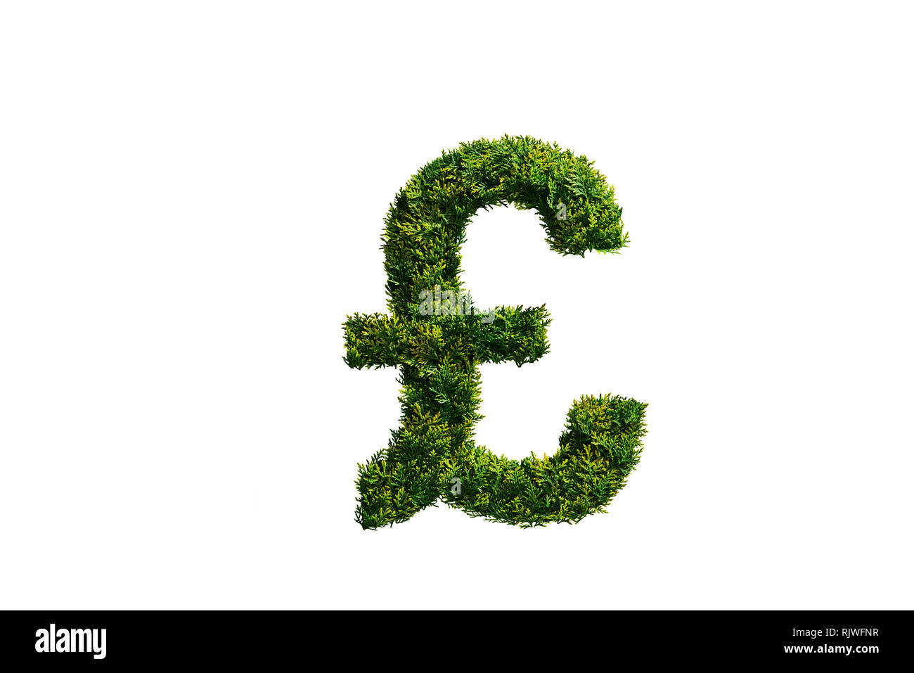 Árbol Topiary en la forma del símbolo de libra británica Imagen De Stock