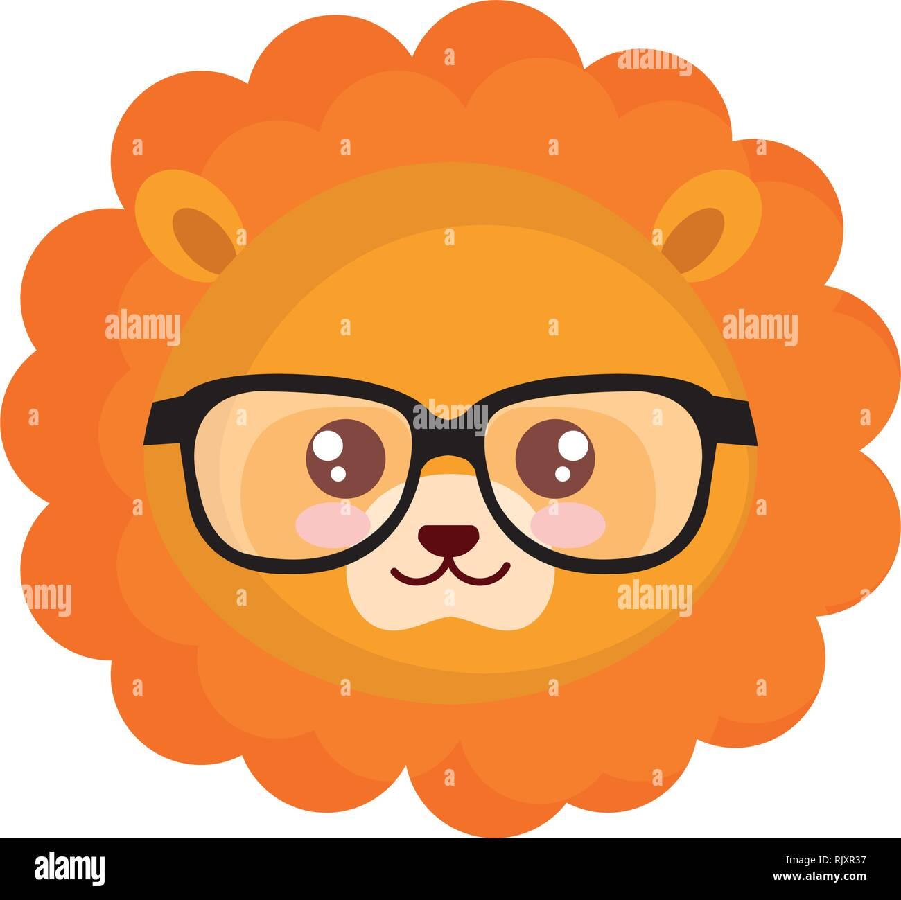 Cute little lion personaje Ilustración del Vector