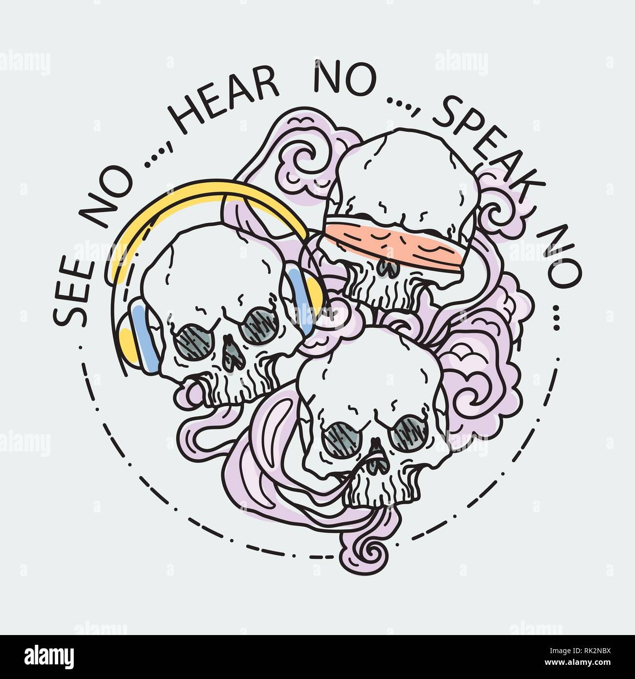 3 Monos Sabios Tatuajes no ver, no escuchar, hablar no. composición de tres