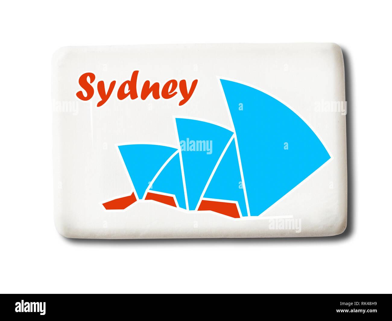 5aeff7e87a4cb Sydney (Australia) souvenir imán para el refrigerador aislado sobre fondo  blanco. Imagen De