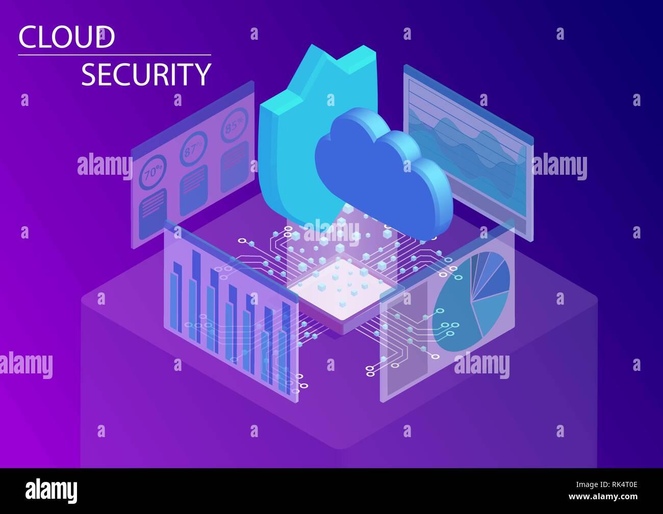 Concepto de seguridad del cloud computing. 3D isométrica ilustración vectorial. Ilustración del Vector