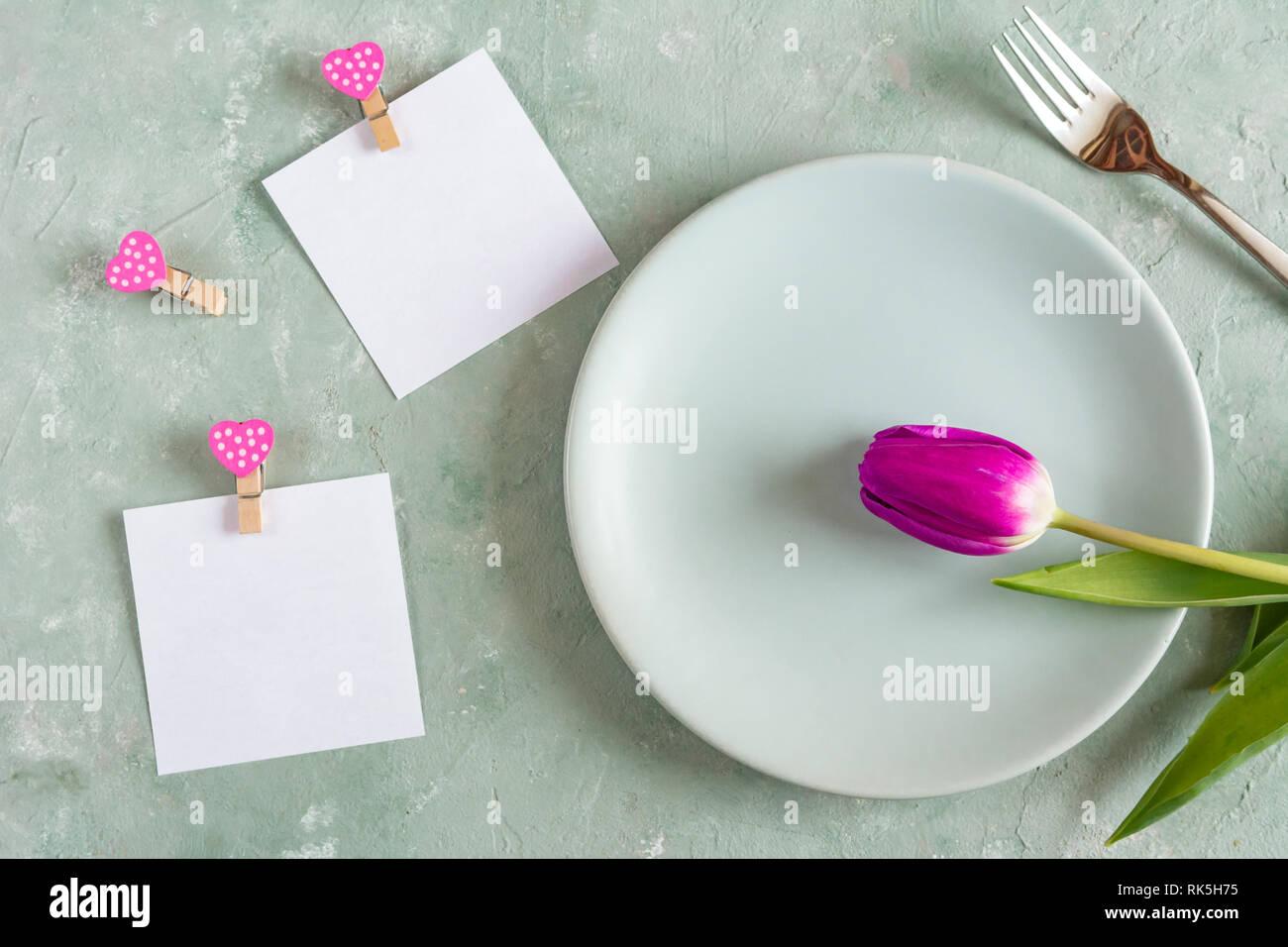 Día De San Valentín Cena Romántica Concepto Tarjeta De
