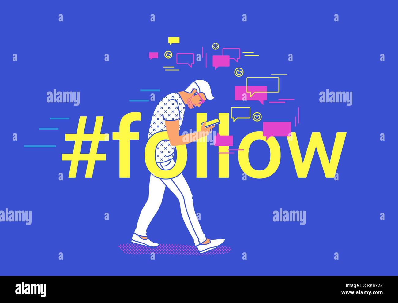 Hashtag seguir concepto flat ilustración vectorial de joven va y texting mensajes en mobile messenger app Ilustración del Vector