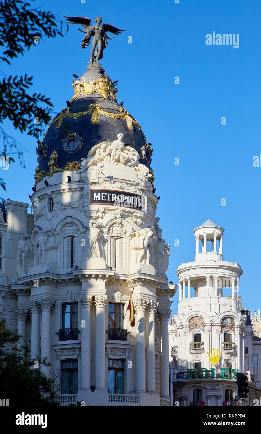 Edificio Metrópolis, Gran Via, Madrid, España Imagen De Stock