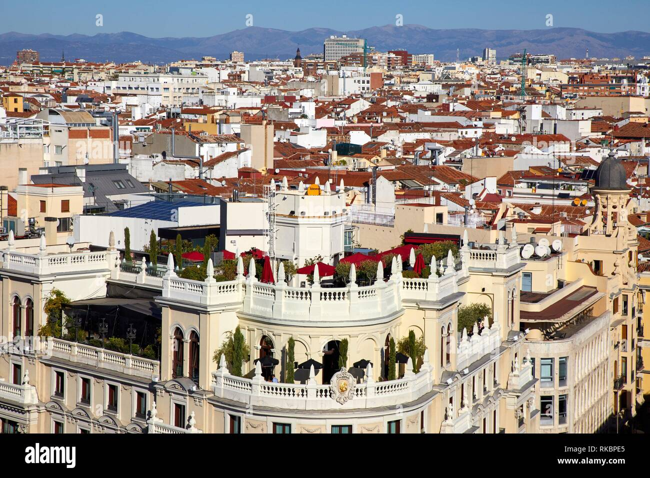Terraza Gran Via Madrid España Foto Imagen De Stock