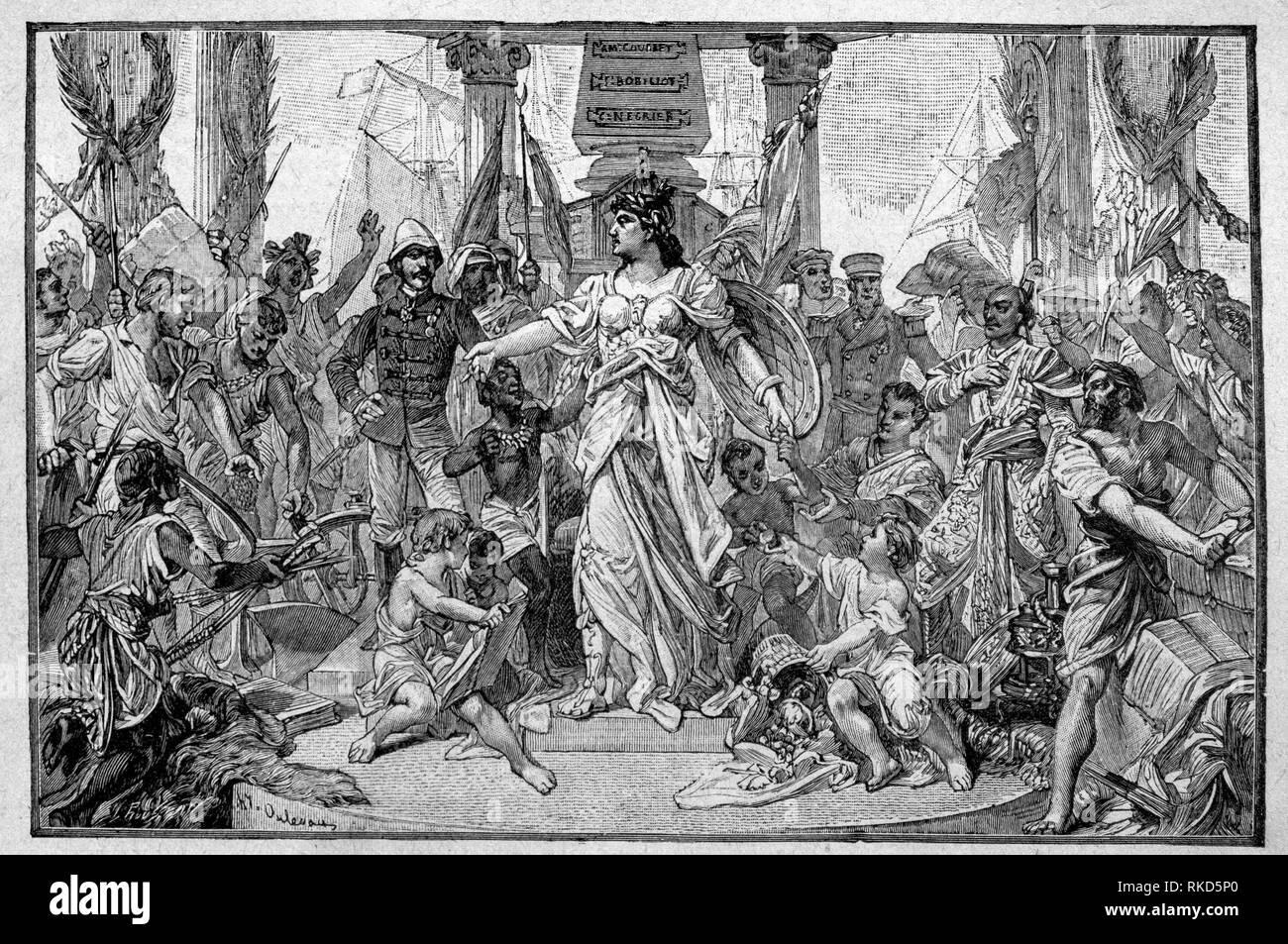 """Francia. Francia para ser amado en todas partes, en las colonias, en ''Men histoire de france"""" por Medemoiselles Brés H-S. Hachette Pub. 1926) Imagen De Stock"""