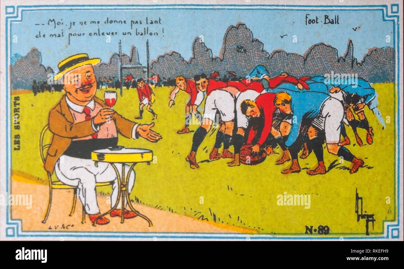Francia, Viejas postales ,alrededor de 1910, sobre el vino y el rugby (todavía llamado pie Ball). Imagen De Stock