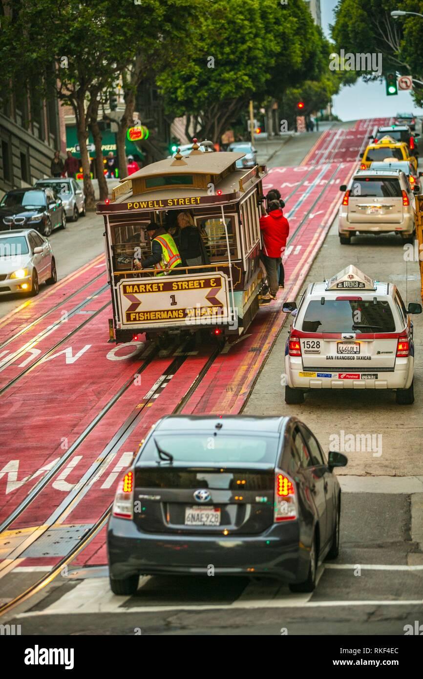 El teleférico de la Calle Powell. Alrededor de Union Square. San Francisco. California, EE.UU. Foto de stock
