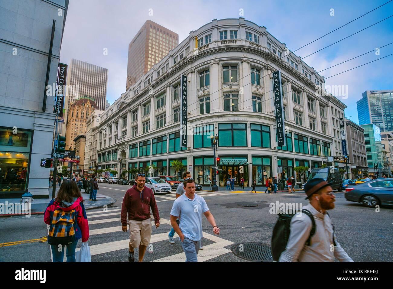 Calles alrededor de la plaza Unión. San Francisco. California, EE.UU. Imagen De Stock