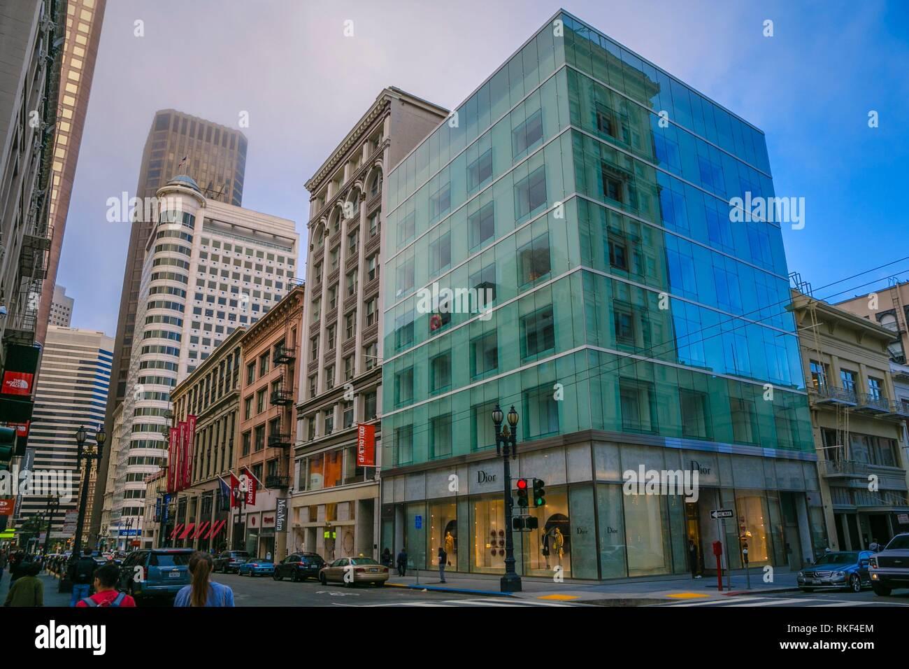 Calles alrededor de la plaza Unión. San Francisco. California, EE.UU. Foto de stock