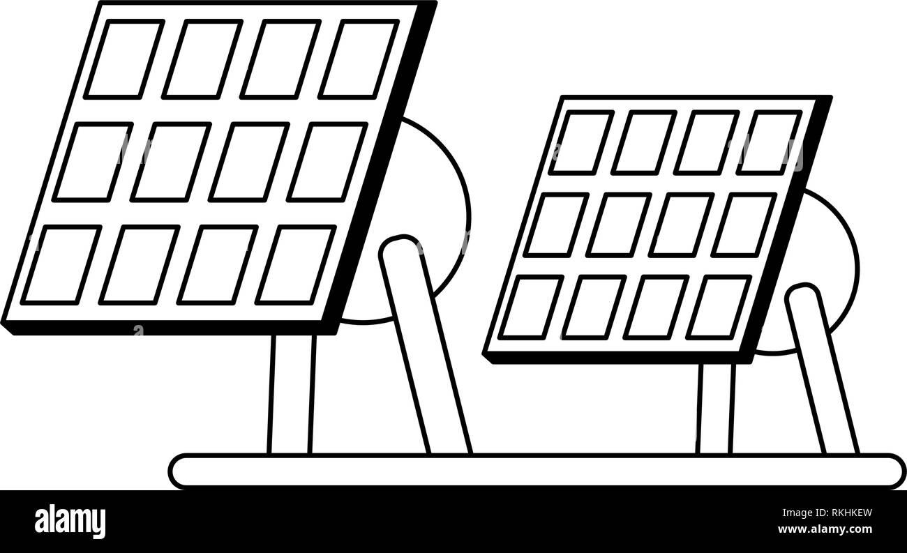 Los paneles solares de energía eléctrica en blanco y negro Imagen De Stock