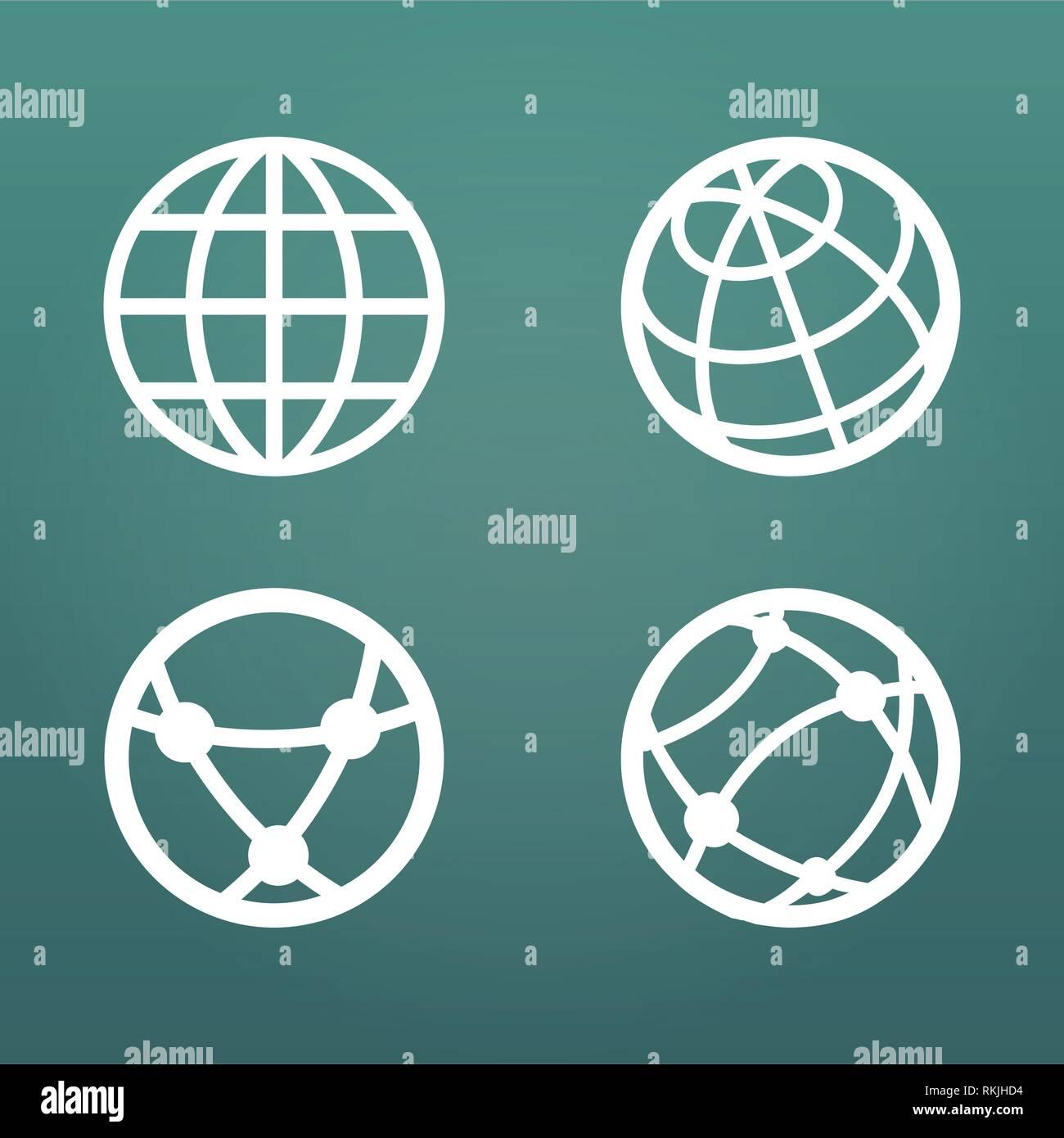 805392d2fc749 Globo lineal blanco conjunto de iconos para aplicaciones web ui.  Ilustración vectorial aislado sobre fondo moderno