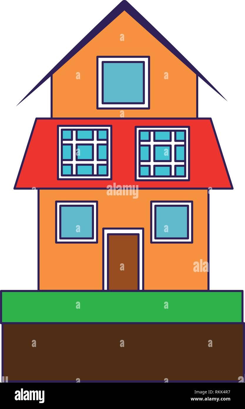 Casa con paneles solares, símbolo azul líneas Imagen De Stock