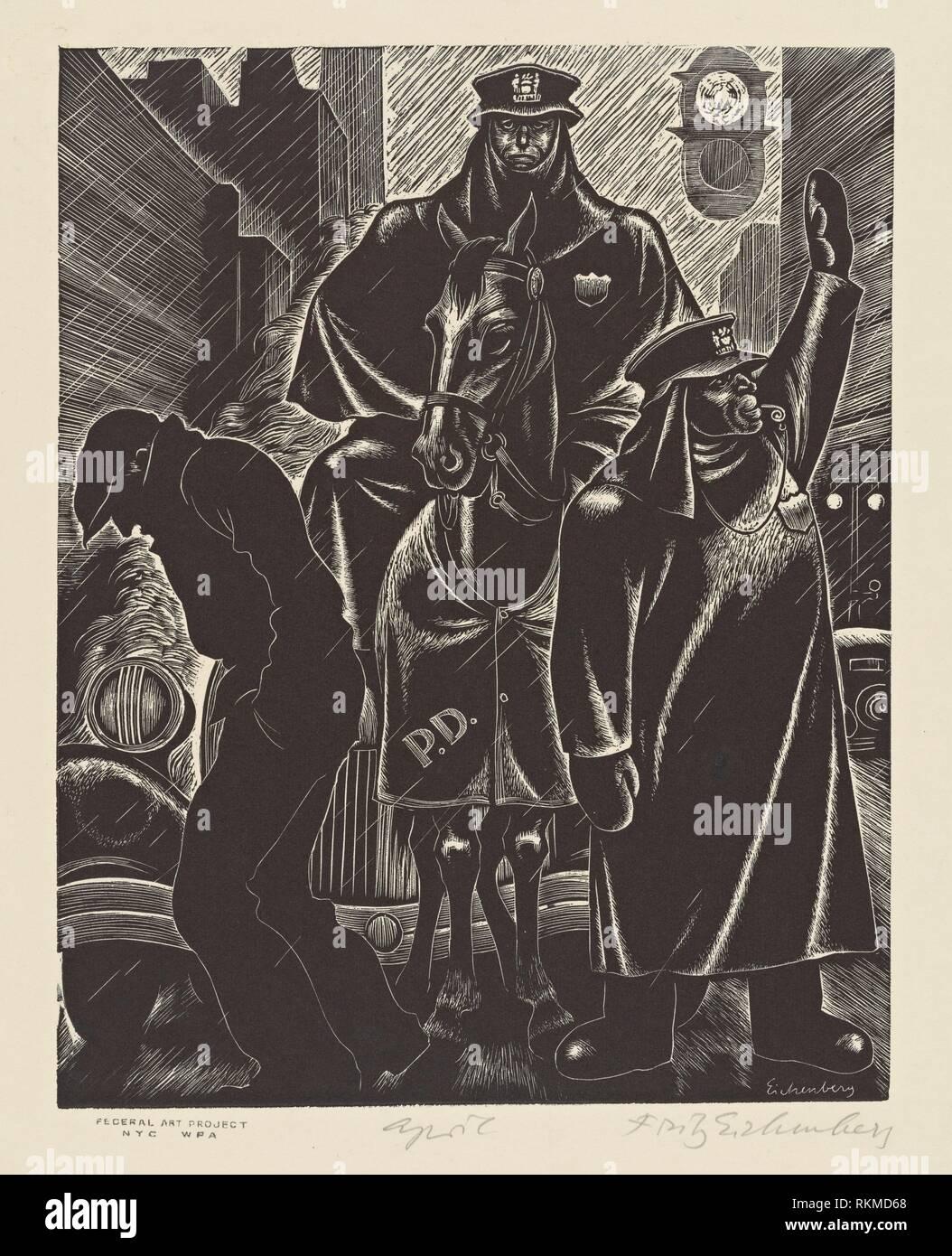 De abril. Estados Unidos. Administración de obras en progreso (patrocinador), Fritz Eichenberg, 1901-1990 (artista). Administración de Obras en Progreso (WPA) Art. Fecha Foto de stock