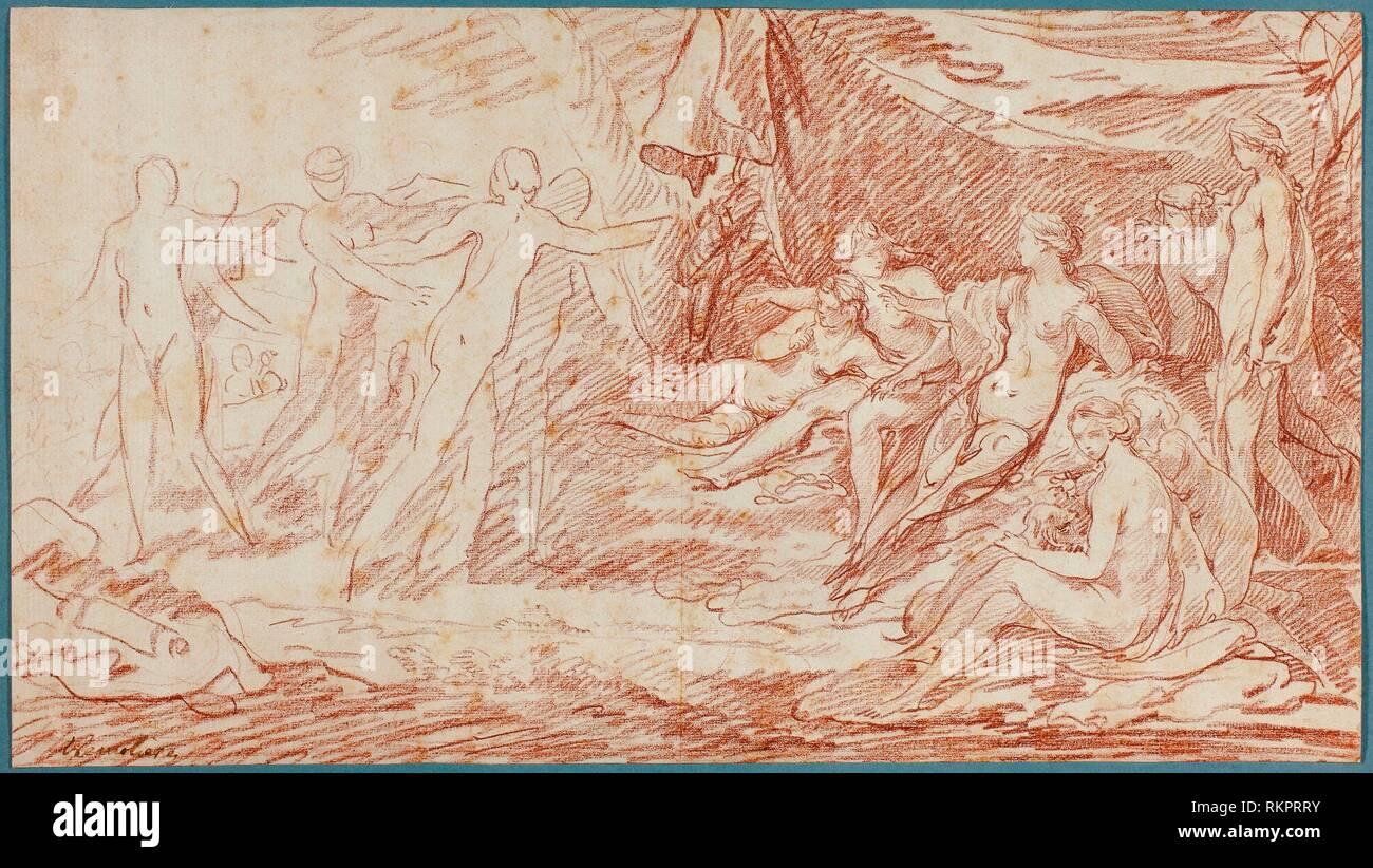 El baño de Diana - c. 1738 - Pierre Charles Trémolières francés, 1703-1739 - Artista: Pierre Charles Trémolières, Origen: Francia, Fecha: 1728-1739 Foto de stock