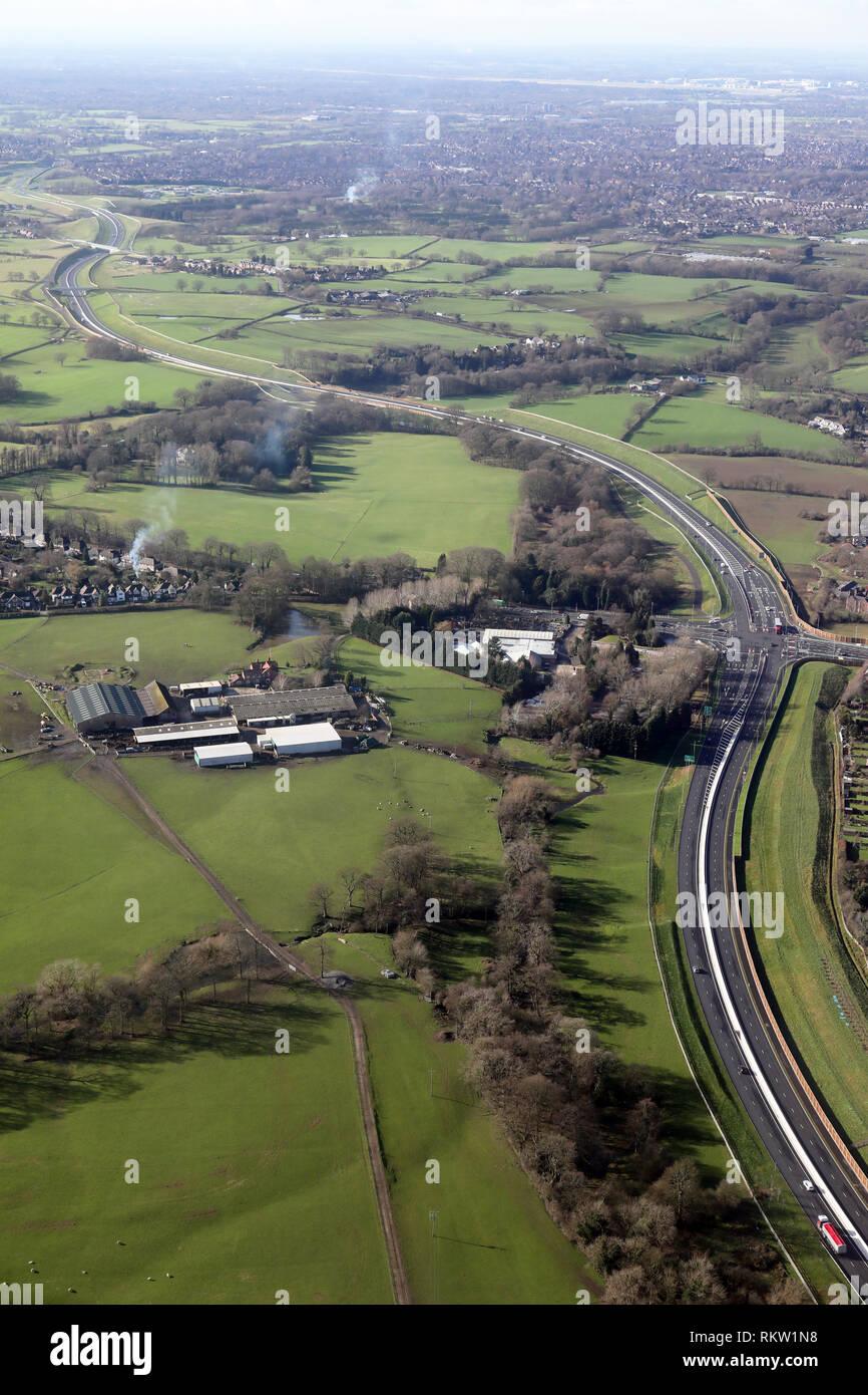 Vista aérea de la A555, Carretera de Socorro del aeropuerto de Manchester Imagen De Stock