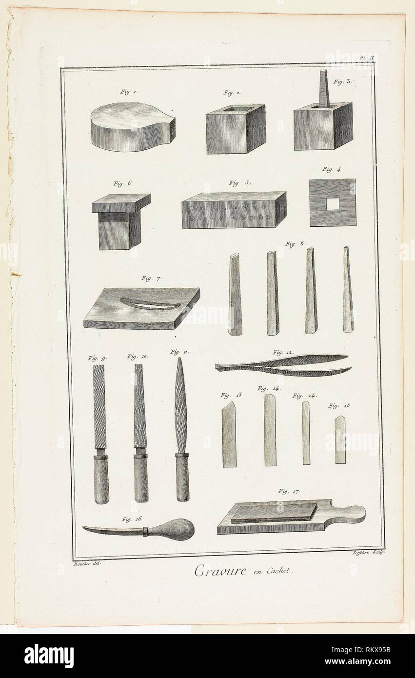 Sello grabado, de Encyclopédie - 1762/77 - A. J. Defehrt (Francés, siglo xviii) activo después Antoine-Gaspard Boucher d'Argis (Francés, 1708-1791) Foto de stock