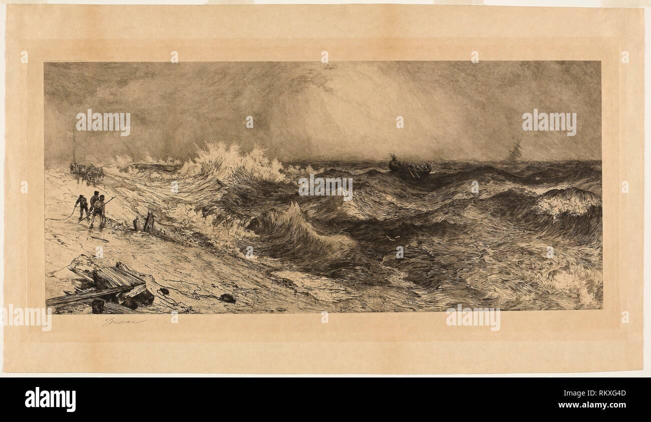 El resonante Mar - 1886 - Thomas Moran Americano, nacido en Inglaterra, 1837-1926 - Artista: Thomas Moran, Origen: Estados Unidos Fecha: 1886, media: Grabado Imagen De Stock
