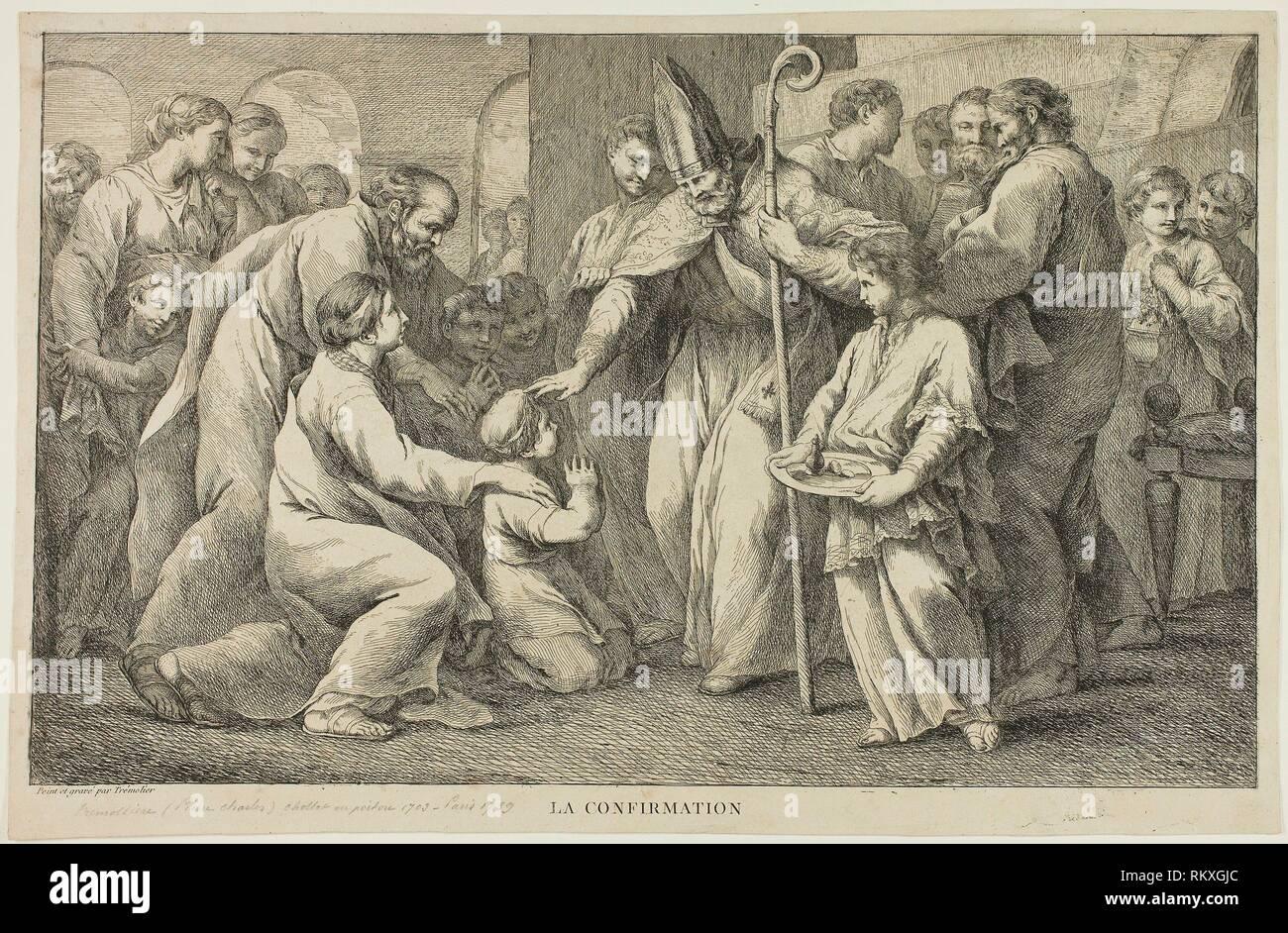 La confirmación - Pierre Charles Trémolières francés, 1703-1739 - Artista: Pierre Charles Trémolières, Origen: Francia, Fecha: 1723-1739, Medio: Foto de stock
