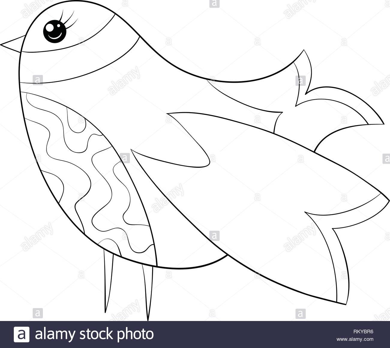 Una Caricatura Caricatura Pájaro Para Actividad Relajanteun