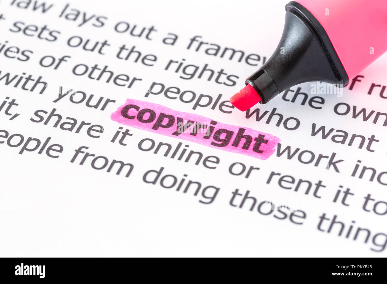 Texto de copyright con marcador de resaltado Foto de stock