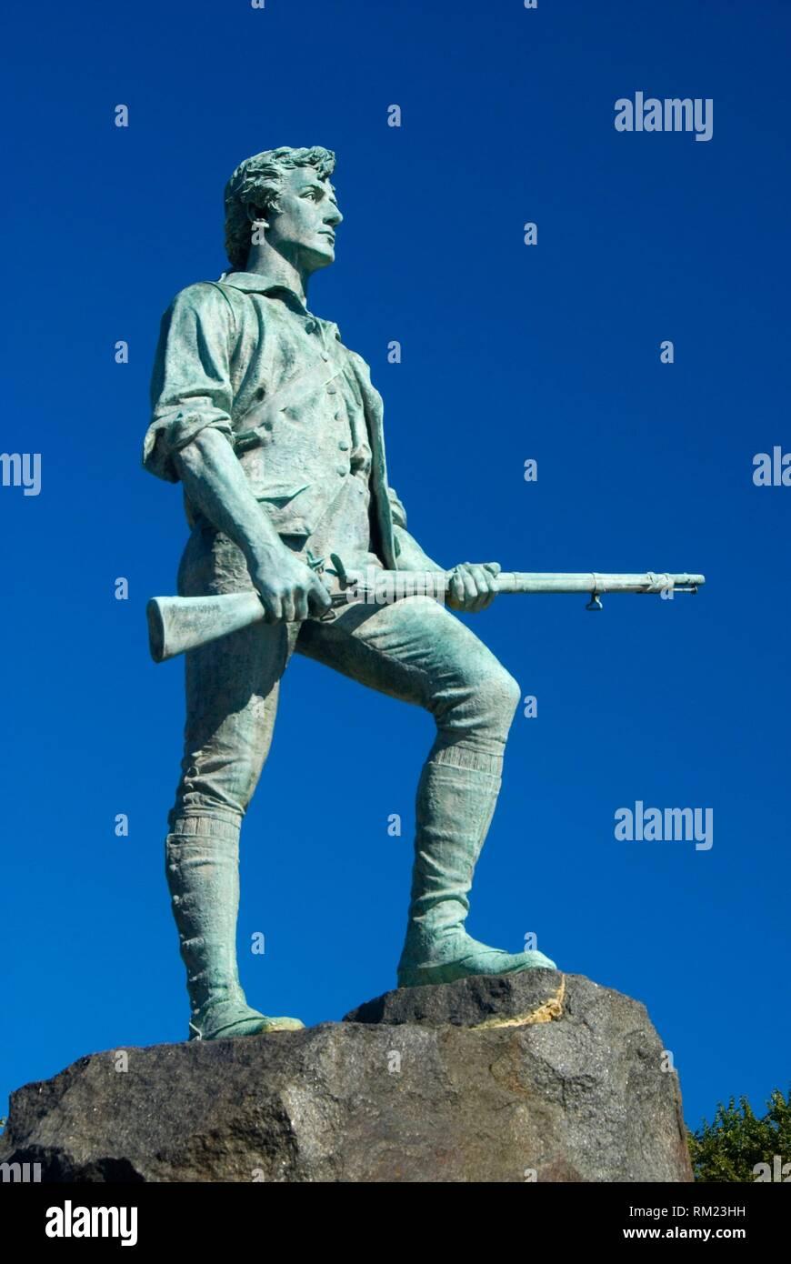El capitán Parker estatua, Lexington Green, en Lexington, Massachusetts. Foto de stock