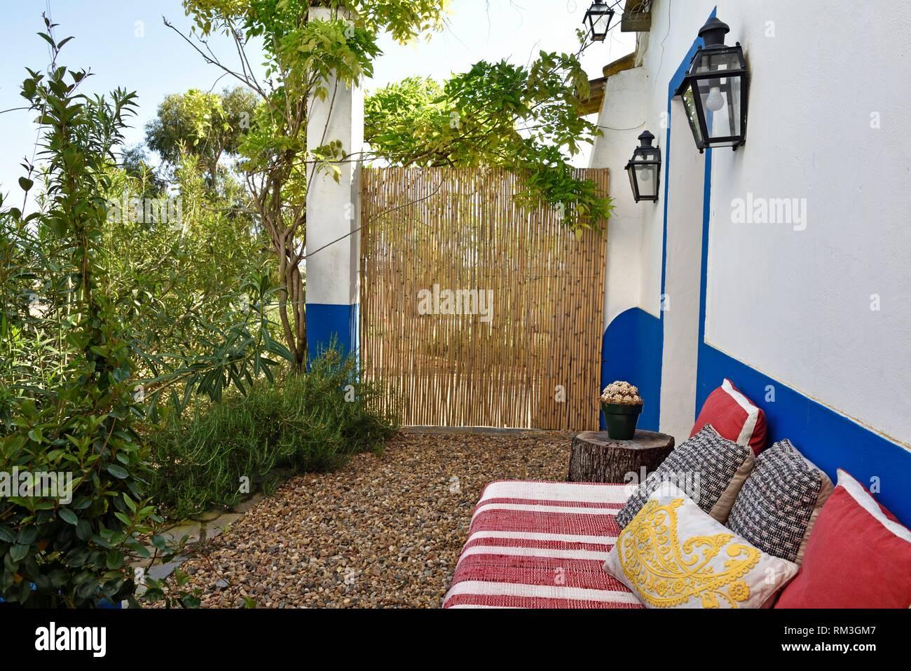 Salón exterior, Vale do Manantio Estate, Moura, Alentejo, Portugal, Europa southwertern. Imagen De Stock