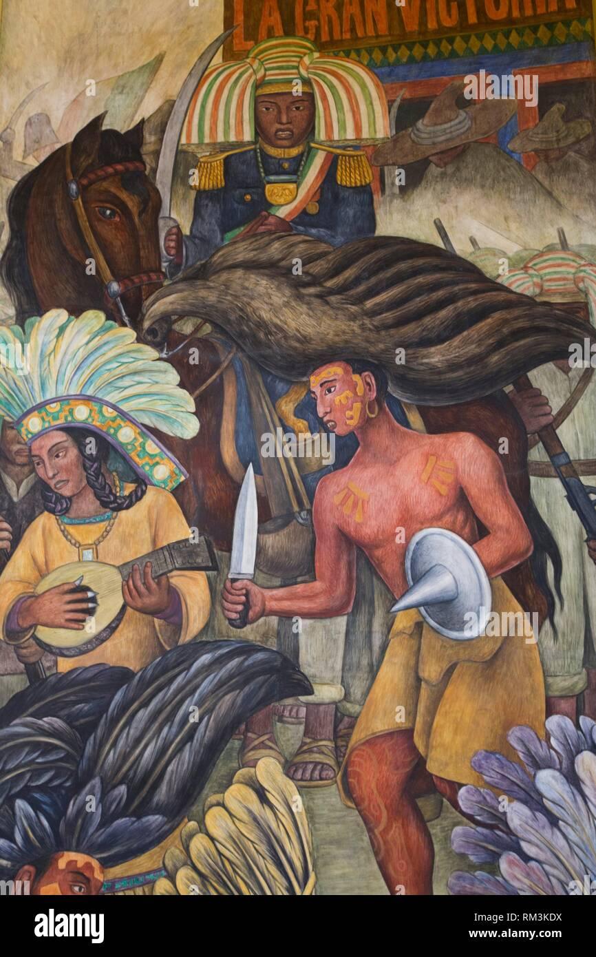 Mural,''Danza de los Huichilobos'', pintado por Diego Rivera, 1936, Palacio de Bellas Artes, Ciudad de México, México Imagen De Stock