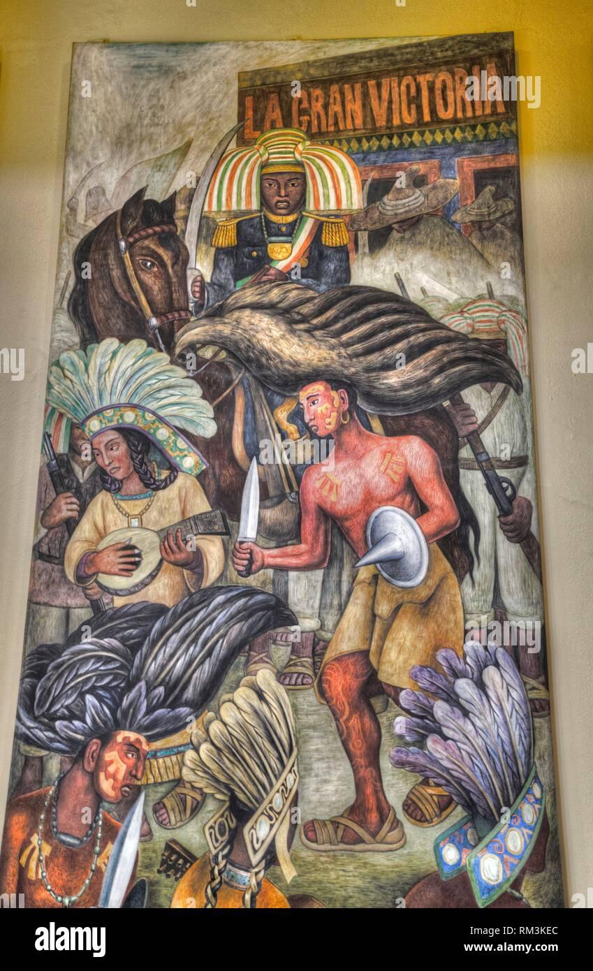 Mural, ''Danza de los Huichilobos'', pintado por Diego Rivera, 1936, Palacio de Bellas Artes, Ciudad de México, México Imagen De Stock