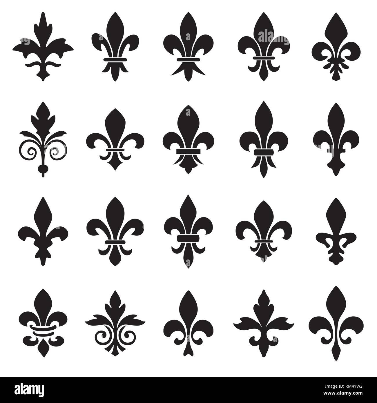 Conjunto de emblemas de Fleur de Lys símbolos. Ilustración del Vector