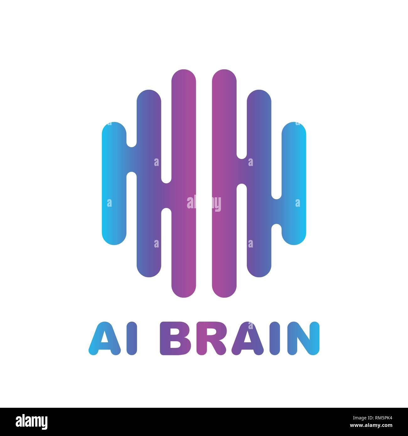Color del logotipo del cerebro silueta vector diseño de plantilla. Imagen De Stock