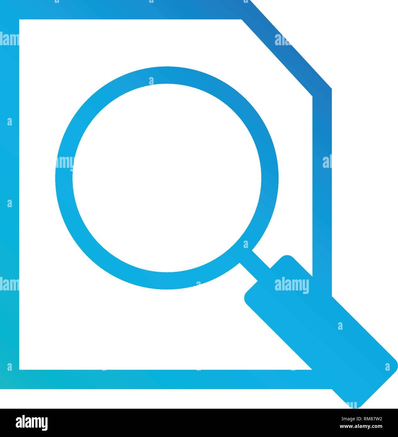 51a089a2811c7 Documento azul con icono buscar aislado sobre fondo blanco. Archivo e icono  de lupa. La investigación analítica de signo. Vector