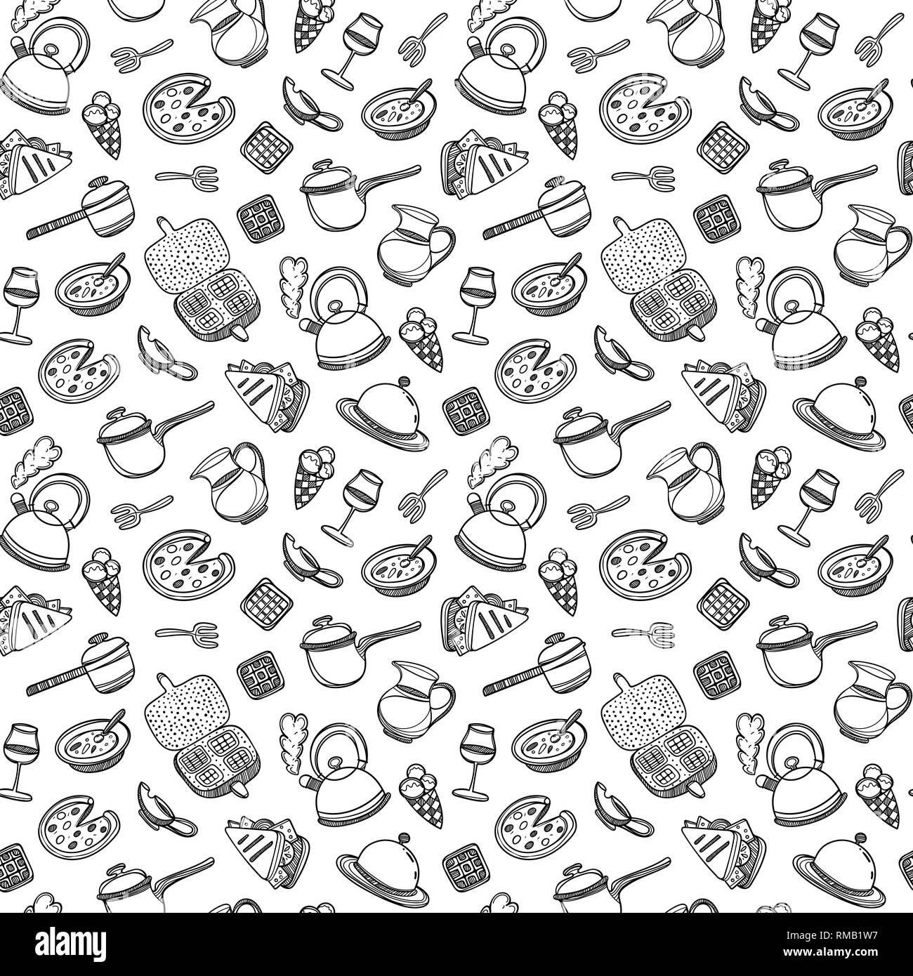 Cute Dibujos Animados De Alimentos Y Utensilios De Cocina Sobre