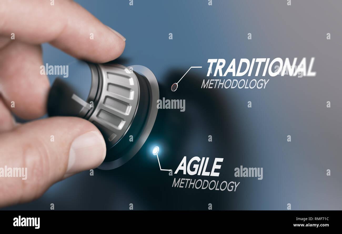 Hombre girando la perilla a la evolución de la metodología de gestión de proyectos, desde la tradicional hasta agile PM. Imagen compuesta entre una mano y una fotografía 3D backgrou Foto de stock