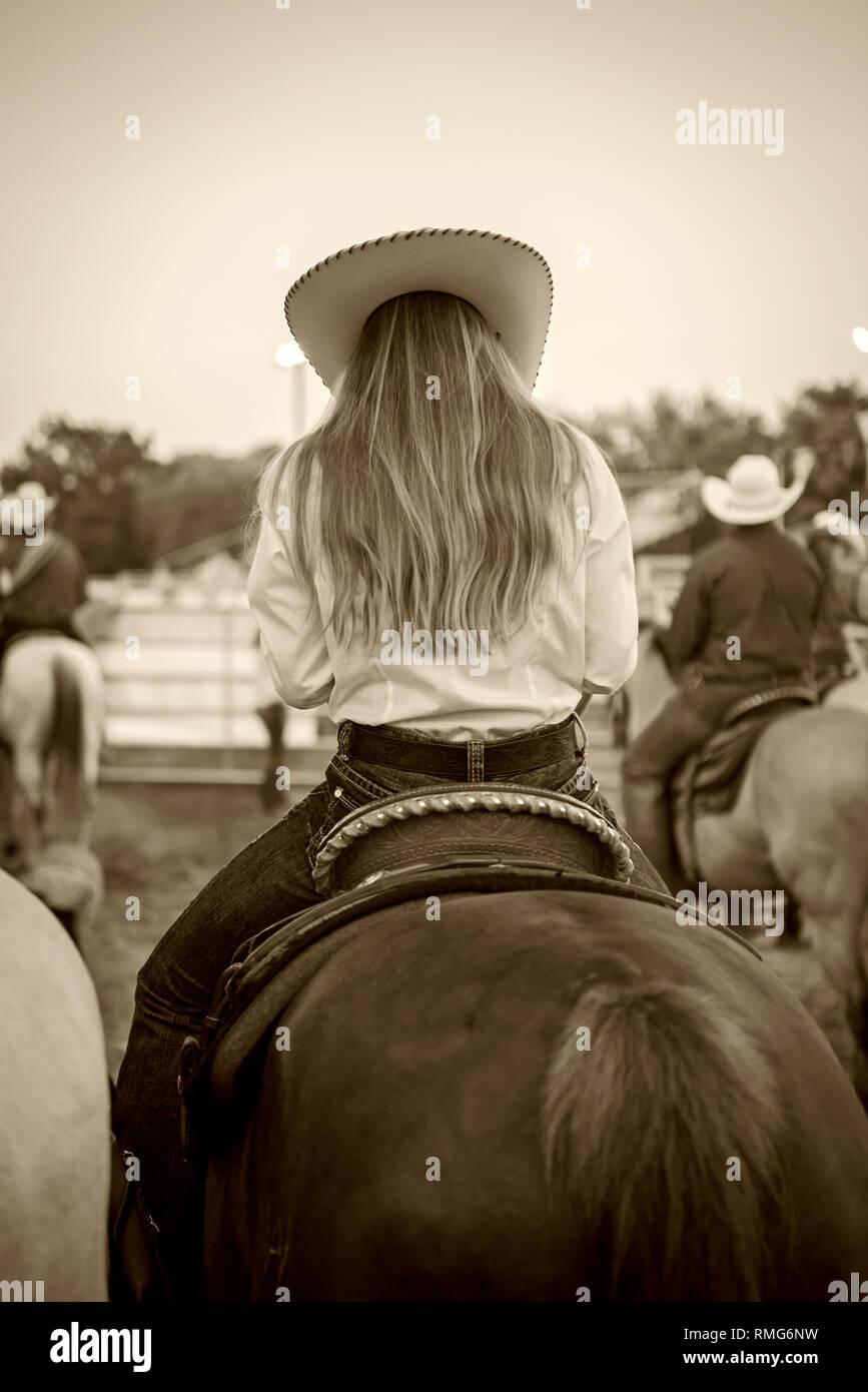 Rodeo cowgirl caballo Foto de stock