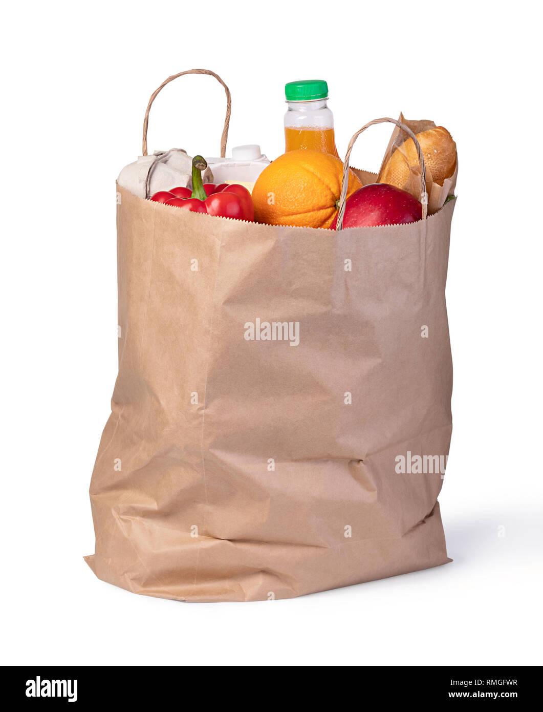 Bolsa de compras de supermercado con alimentos aislado sobre