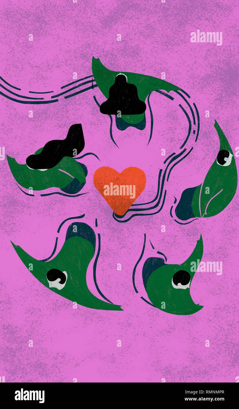 Compromiso phobe. Colorido conceptual ilustración muestra folk en pánico escapar nadando por el amor. Imagen De Stock
