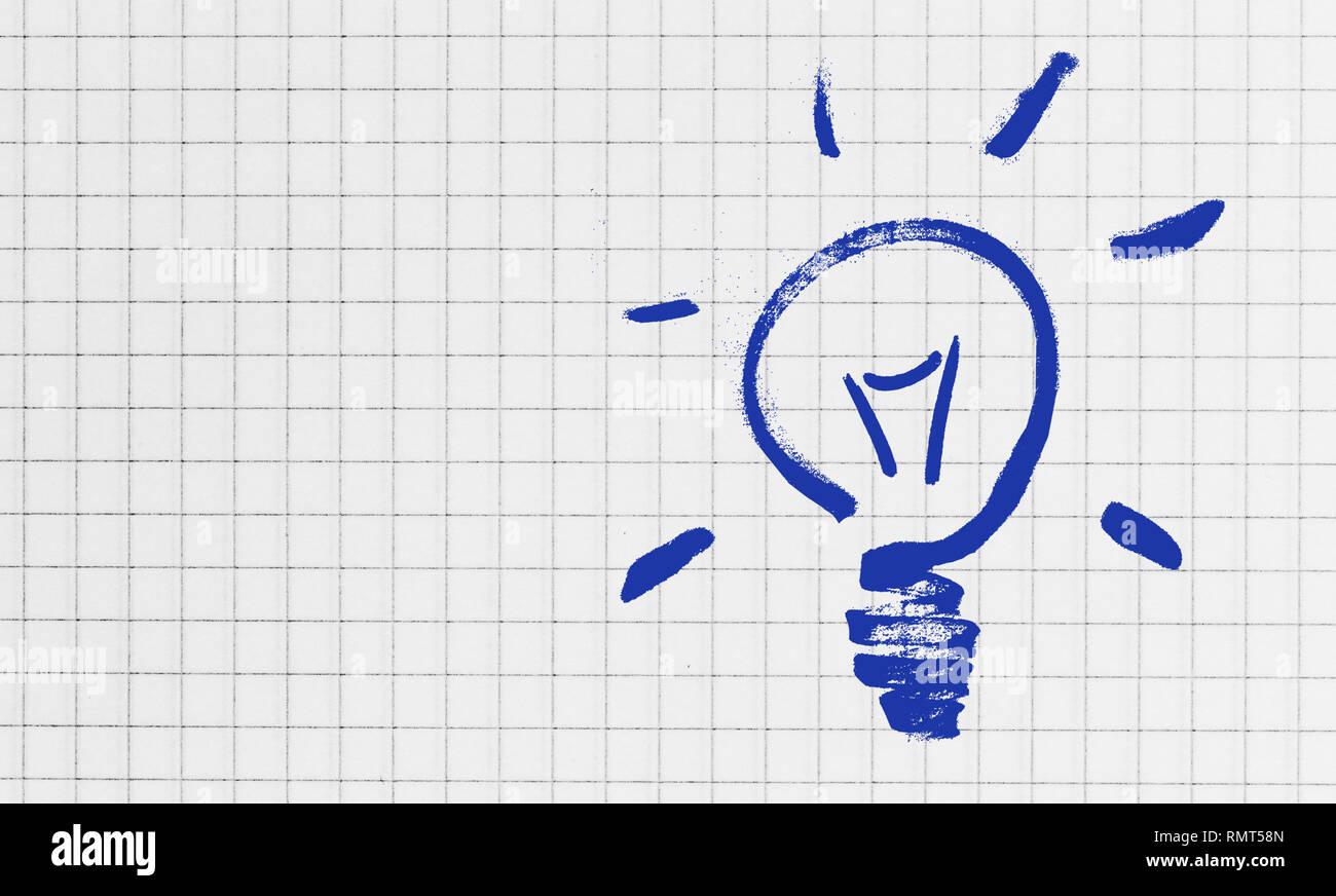 Bombilla de accidentada concepto Writing Pad. Foto de stock