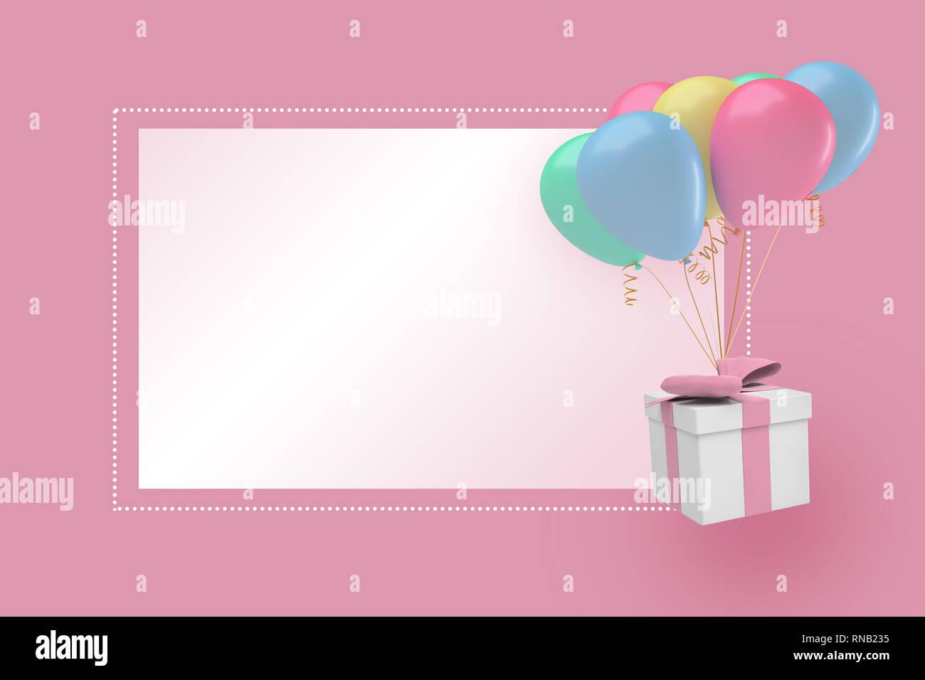 Representación 3D de un fondo de color rosa pastel con una caja de regalo y parte globos cerca de un bloque blanco o texto. Foto de stock