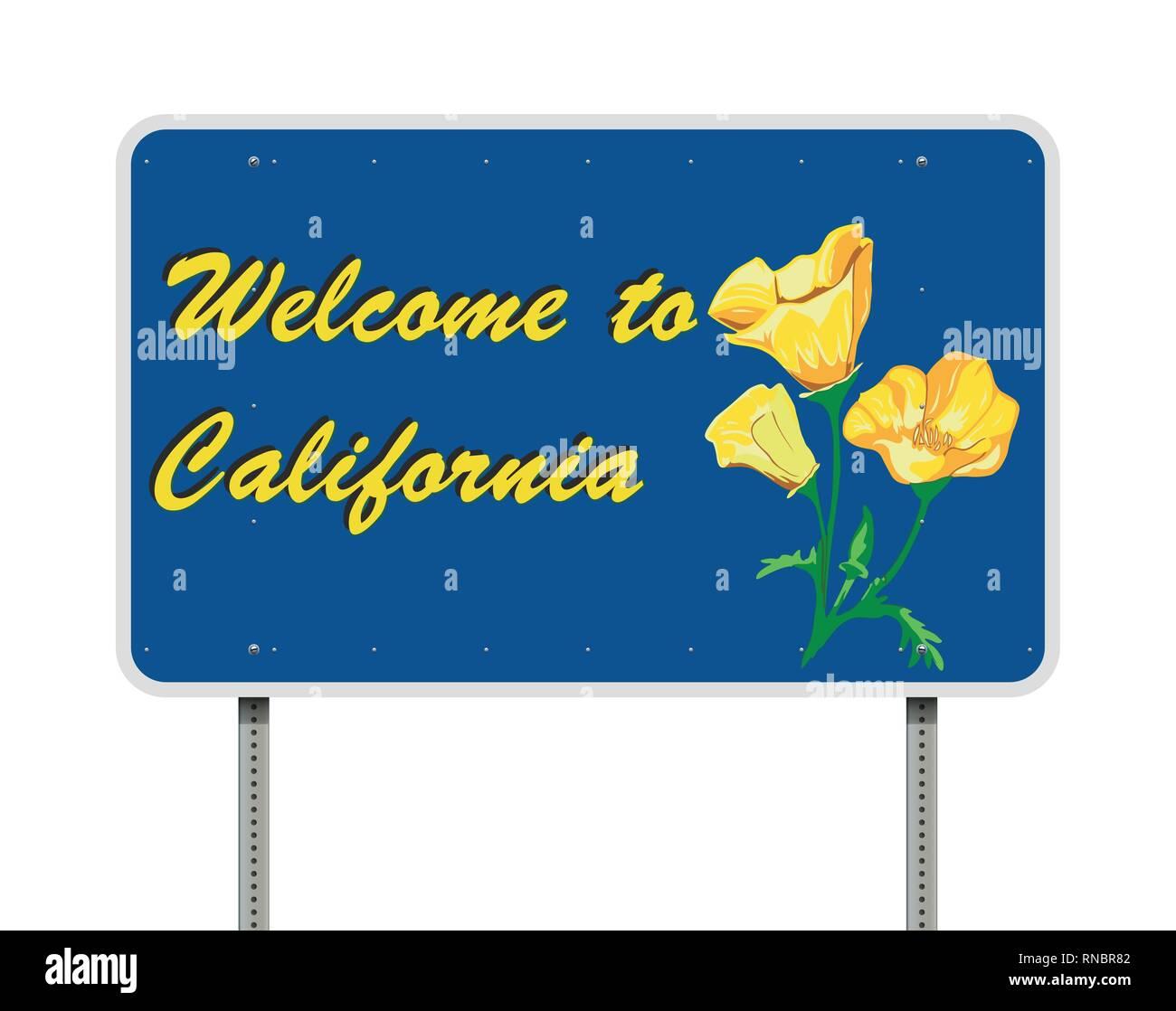 Ilustración vectorial de la bienvenida a California blue road sign Ilustración del Vector