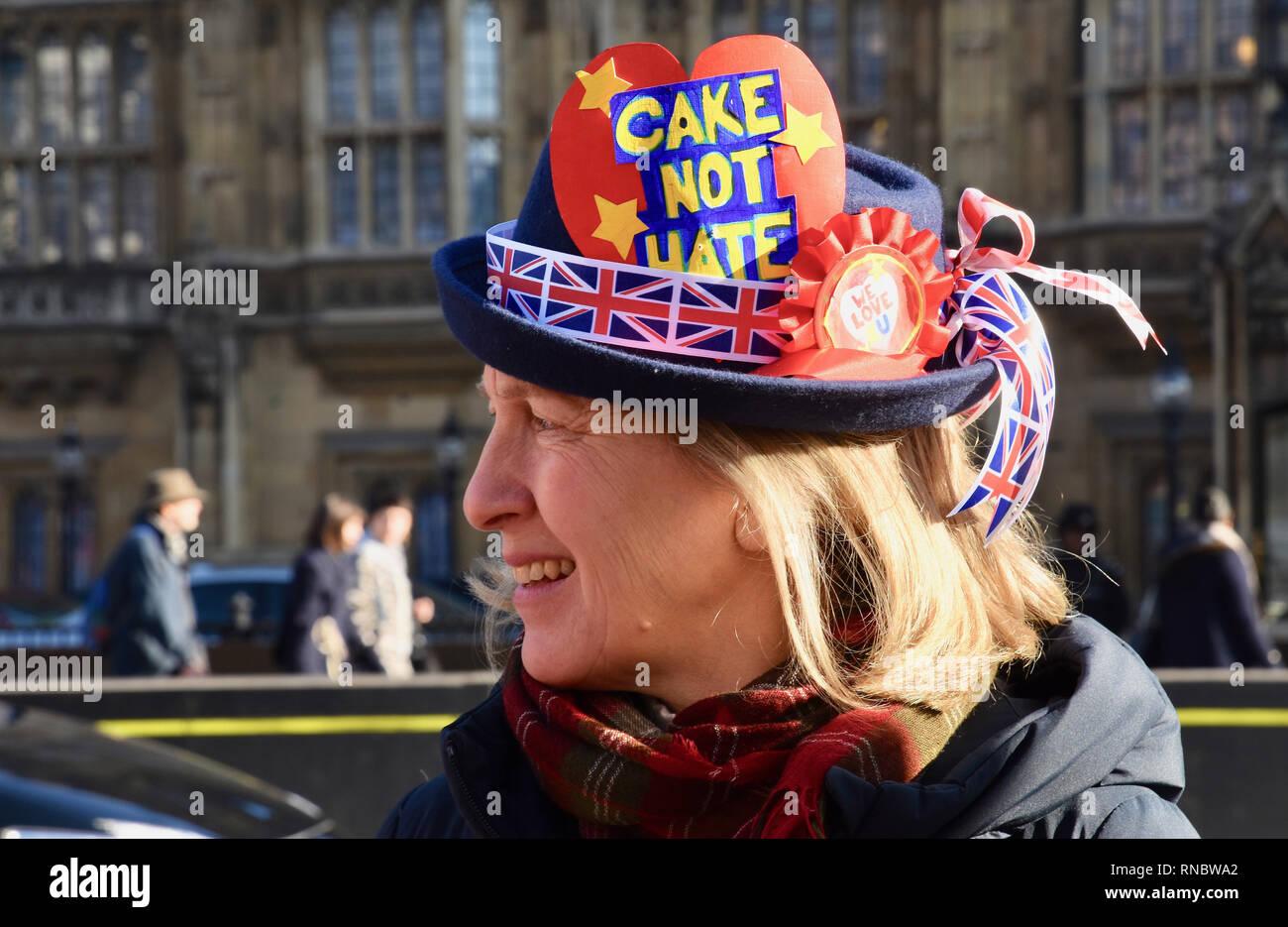 El Día de San Valentín.Tarta de protesta no odio,Anti Brexit Pro demostración en la UE, las Casas del Parlamento, Westminster, Londres.UK Imagen De Stock