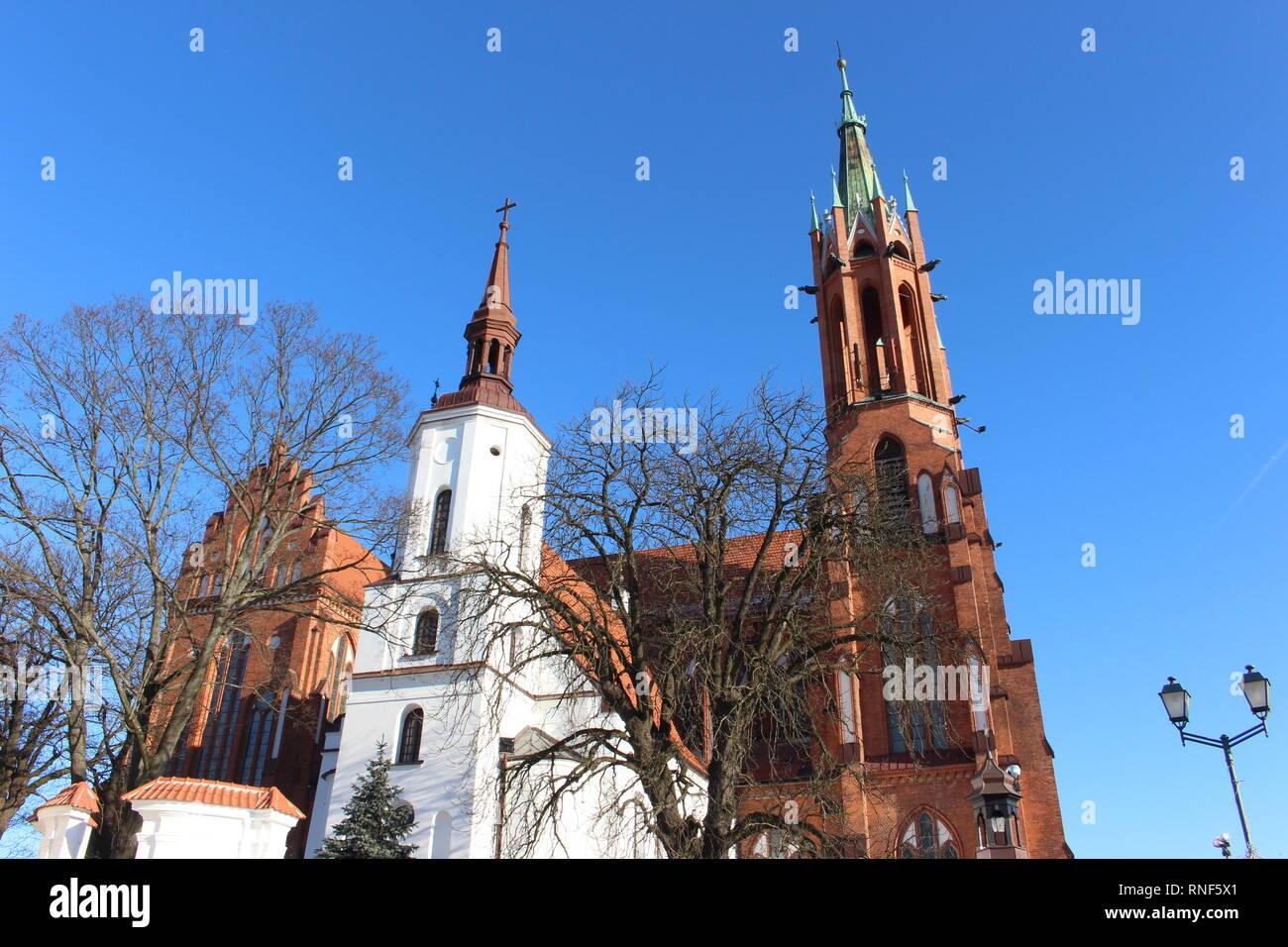 Basílica Catedral de la Asunción de la santísima Virgen María, Bialystok, vista desde el centro de la ciudad Foto de stock