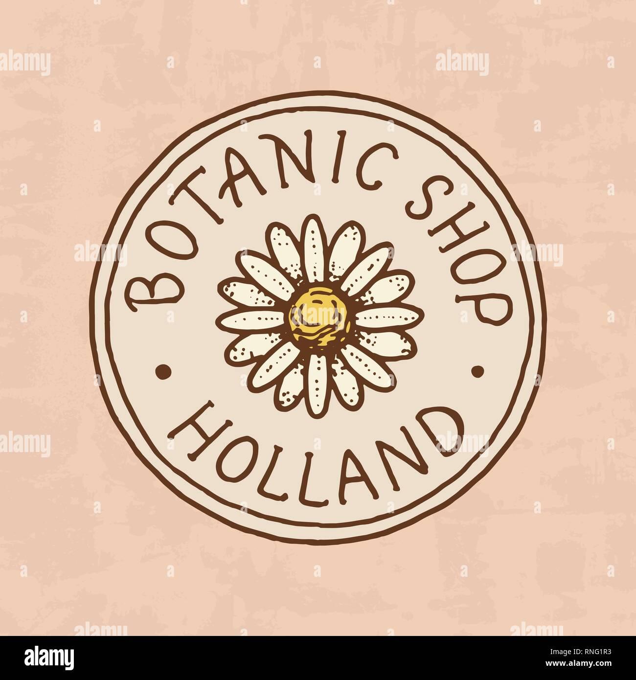 Tienda De Flores El Emblema O Logotipo De Brillante Vintage