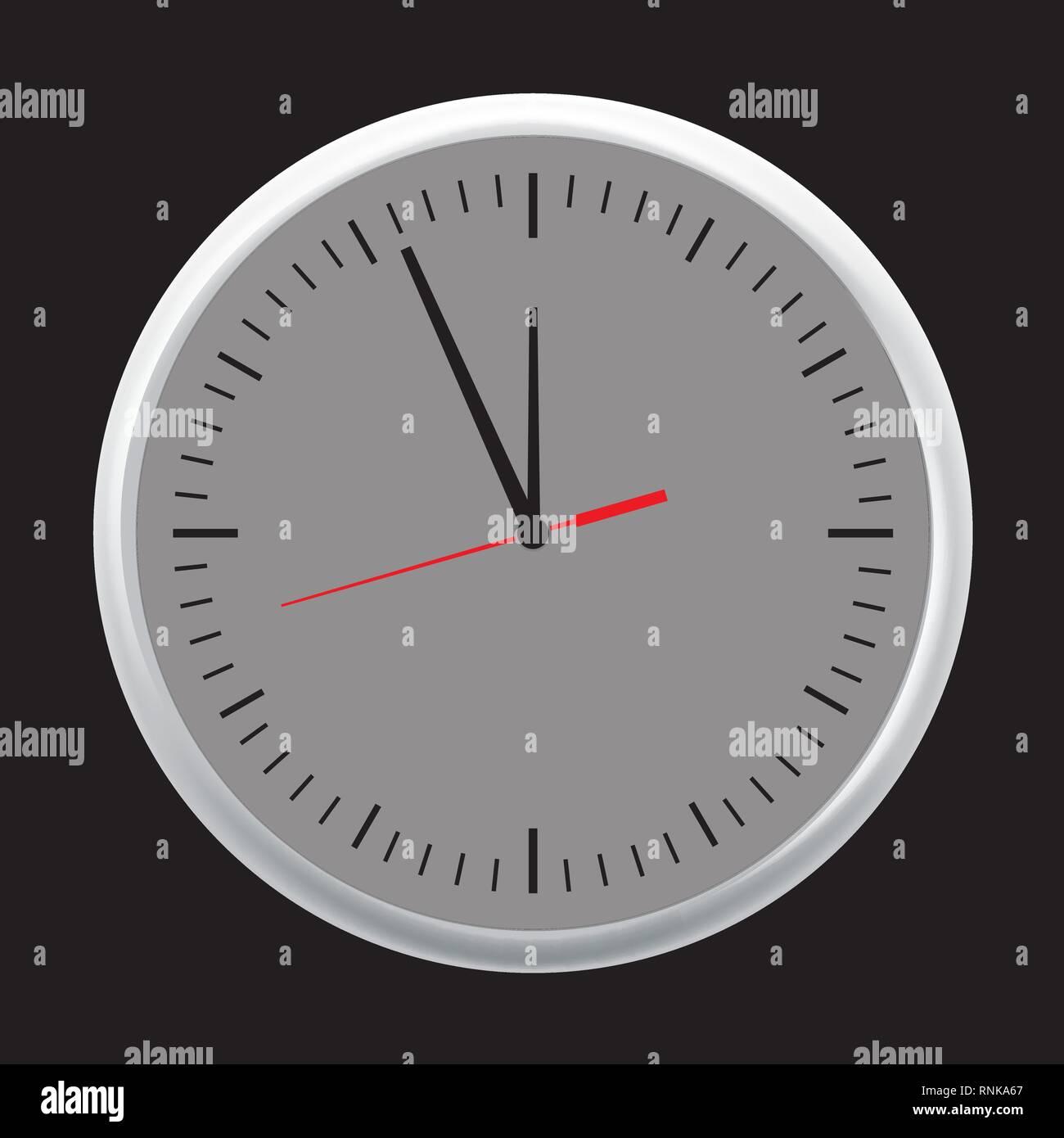 61dece85f18d Reloj de pared blanco oficina conjunto de iconos mostrando cinco minutos  para las doce. Ilustración vectorial.