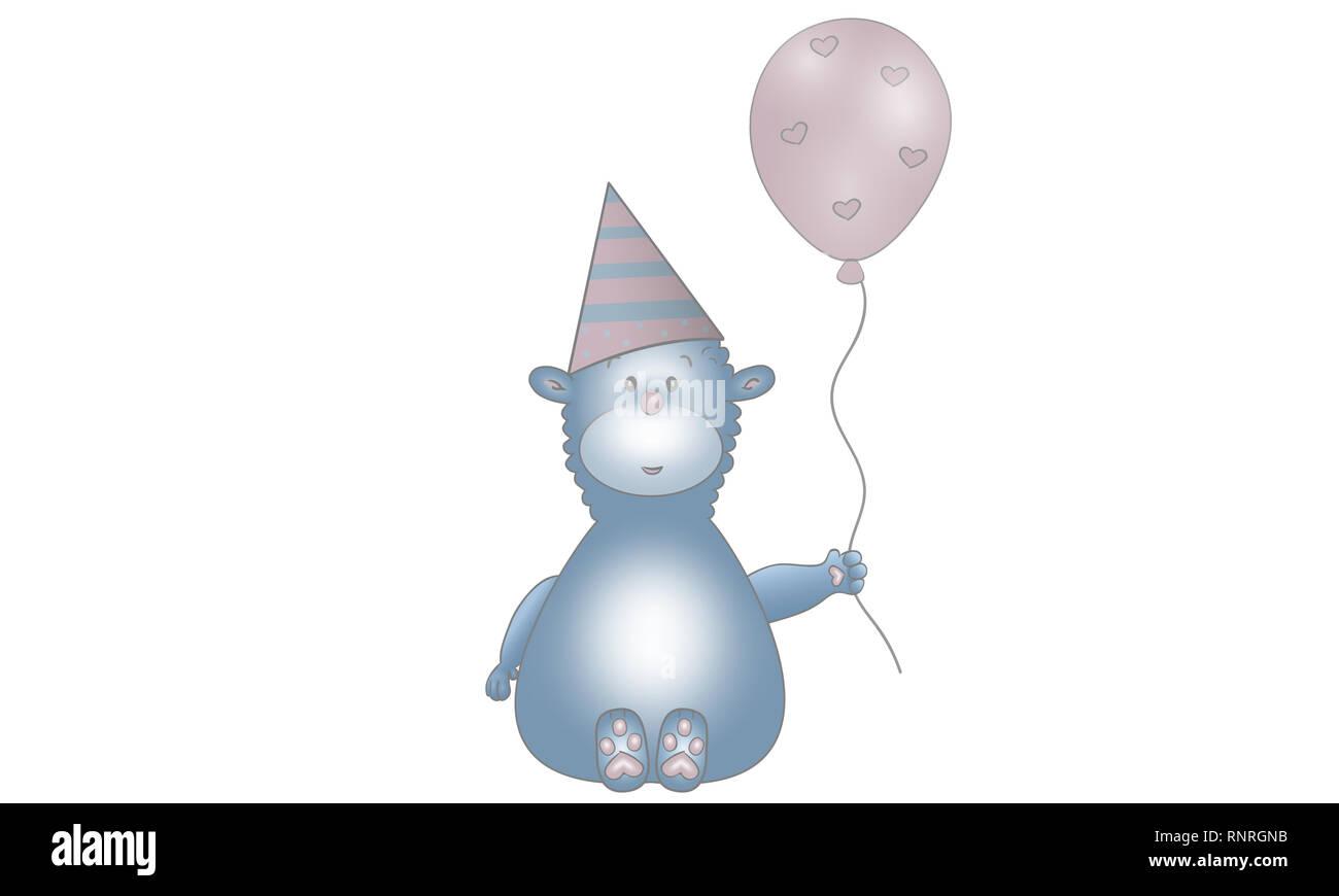 Cute imagen vectorial de azul fantasía criatura animal con balón, gorro de fiesta y los corazones, aislado sobre fondo blanco. Foto de stock