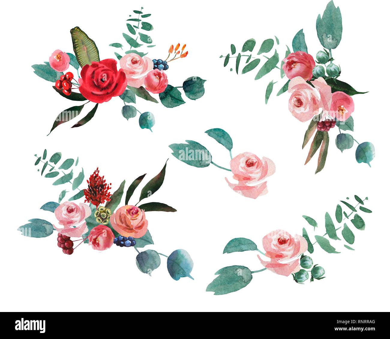 Boda Ramo Rustico Rojo Y Verde Y Rosa Flores De Dibujo A Mano